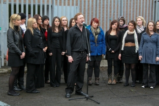 Waterford Omagh Peace Choir perform at unveiling of Peace Pole erected between the gates in Northumberland Street, Belfast, Northern Ireland. (c) Allan LEONARD @MrUlster