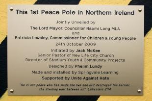 Commemorative plaque of Peace Pole at Northumberland Street, Belfast, Northern Ireland. (c) Allan LEONARD @MrUlster