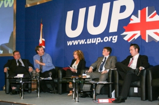 Ross HUSSEY, Duncan MORROW (Community Relations Council), Lesley MACAULAY, Bill MANWARING, and Kenny DONALDSON @UUPonline (c) Allan LEONARD
