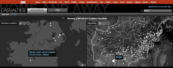 Interactive remembrance of Iraq & Afghanistan casualties