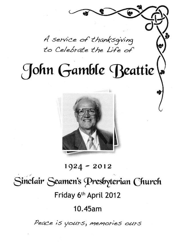 20120406 John Beattie - Service of Thanksgiving
