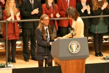 Hannah NELSON greets US First Lady Michelle OBAMA (c) Allan LEONARD @MrUlster