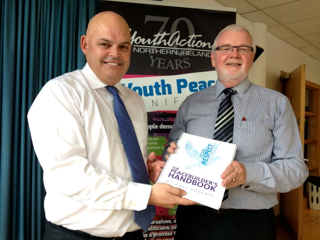"Peter Osborne and Michael Doherty at launch event ""The Peace Builder's Handbook"""