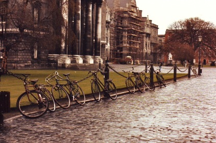 Bicycles inside quad at Trinity College, Dublin, Ireland