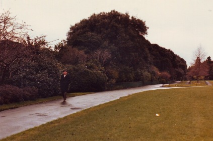 Man walking along path in Phoenix Park, Dublin, Ireland
