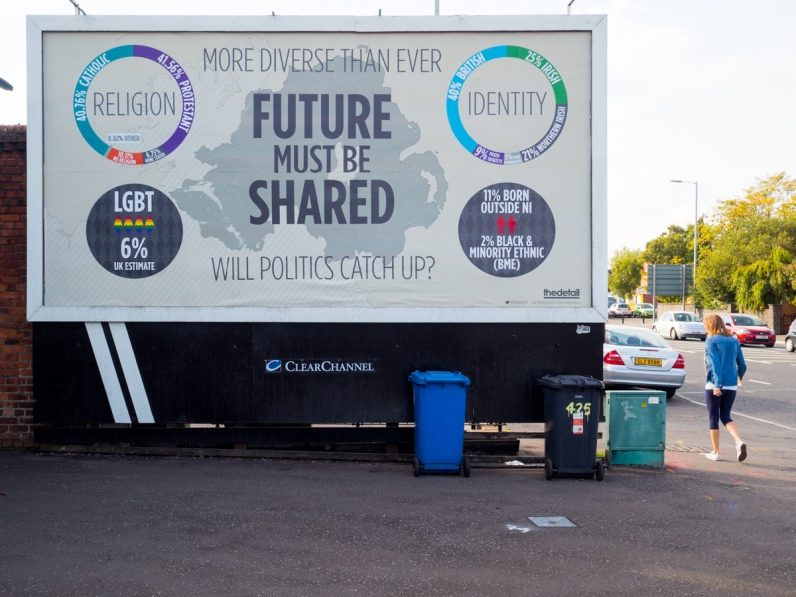 Future Must Be Shared billboard @TheDetailTV. Conference: One Place - Many People, Community Relations Council, Stormont Hotel, Belfast, Northern Ireland. @NI_CRC #CRWeek15