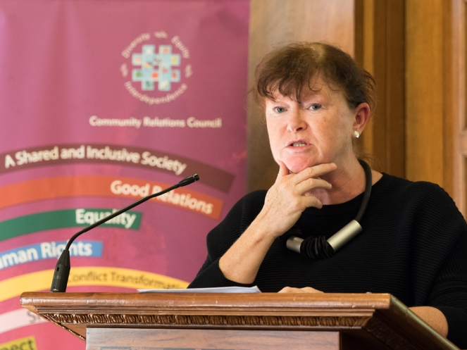 Jacqueline IRWIN (CEO, Community Relations Council). David Stevens Memorial Lecture and Presentation of CRC Award for Exceptional Achievement, Parliament Buildings, Belfast, Northern Ireland. @NI_CRC #CRWeek15