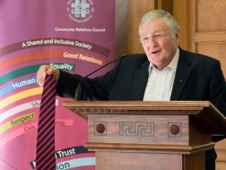 Rev. Harold GOOD takes his tie off. David Stevens Memorial Lecture and Presentation of CRC Award for Exceptional Achievement, Parliament Buildings, Belfast, Northern Ireland. @NI_CRC #CRWeek15