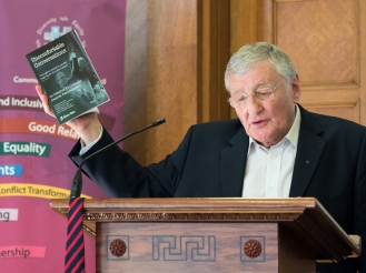 Rev. Harold GOOD cites book, Uncomfortable Conversations. David Stevens Memorial Lecture and Presentation of CRC Award for Exceptional Achievement, Parliament Buildings, Belfast, Northern Ireland. @NI_CRC #CRWeek15
