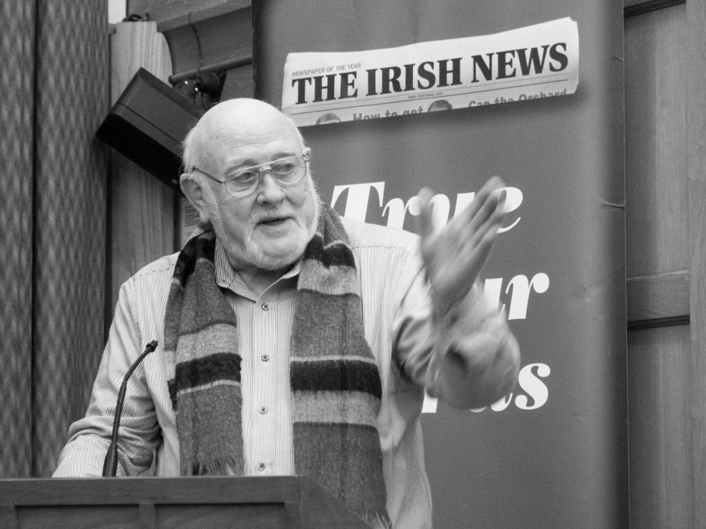 Denis HAUGHEY. John Hume: Irish Peacemaker book launch, Canada Room, Queen's University Belfast, Northern Ireland.