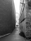 Leaving a dark alley. Telfair Street, Belfast, Northern Ireland.