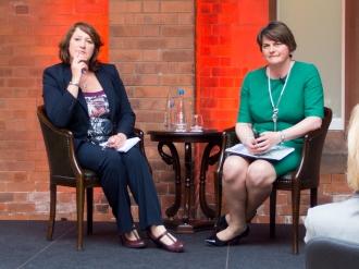 First Minister for Northern Ireland, Arlene FOSTER MLA, Harri HOLKERI lecture, Riddel Hall, Queen's University Belfast, Northern Ireland.