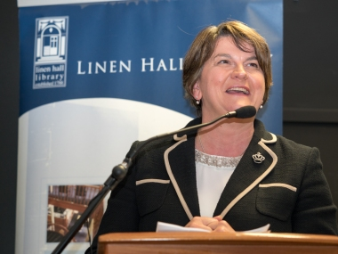 First Minister of Northern Ireland, Arlene FOSTER MLA. Divided Society digitisation project launch. Linen Hall Library, Belfast, Northern Ireland. @TheLinenHall