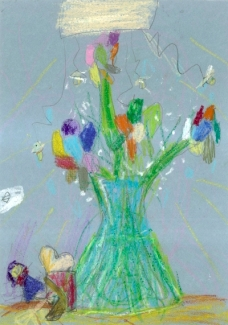 Ellie's Drawing of a Vase of Flowers (2016) by Ellie GIBLIN.