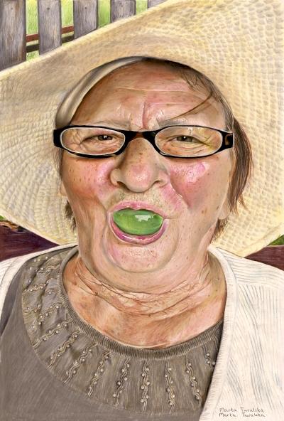 My Grandma with Grape (2016) by Marta TURALSKA.