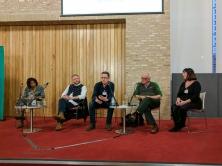 Panel discussion: Lisa ANDERSON, Colin DAVIDSON, Niall KERR, Philip ORR, and Katy RADFORD (c) Allan LEONARD @MrUlster