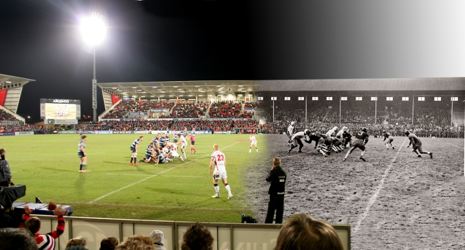 American football match played in 1942, with a Pro 12 League match played against Cardiff Blues 27th March 2015.
