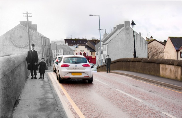 Bridge End, Strabane: 1910 & 2015.