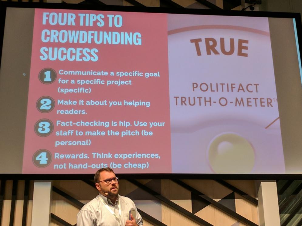 Aaron SHAROCKMAN. Global Fact 4 conference, Madrid, Spain. #GlobalFact4 @factchecknet @Poynter @ReportersLab (c) Allan LEONARD @MrUlster
