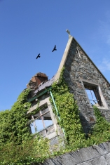 """The Old School House. Kearney Village © Jane McComb; Postscript to Iceland (Louis MacNeice): """"Great blackbirds that fly alone, Slowly through a land of stone."""""""