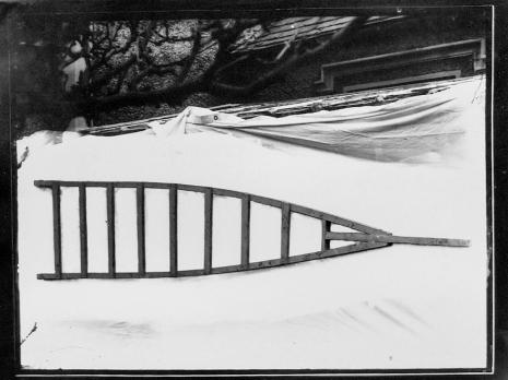 "Apple tree ladder (7 March 1934). Turner, Belfast, i.e. ""Turners Fruit Markets Ltd"", Oxford St, Belfast? T3395/4HP/81-113 (alt. T16/297). Allison Collection, PRONI, Belfast, Northern Ireland."